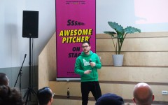 Pitching on stage at 42 workspace